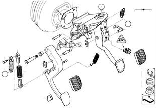 Mecanismo pedais c/mola recuper. pedal