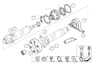 Arbol de transm., piezas sueltas, 4rued.