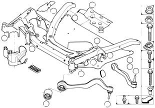 Frnt axle support, wishbone/tension strut