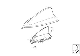 Peças individuais da antena do tejadilho