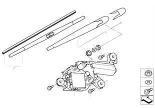 Single parts for rear window wiper