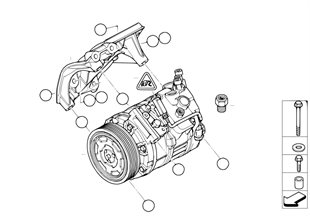 Compressore climatiz./pezzi di montaggio