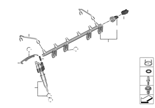 Rail de alta pressão/injector/tubo
