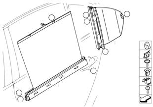Roller sun vizor, rear door