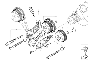 Timing gear, timing chain, cyl. 5-8