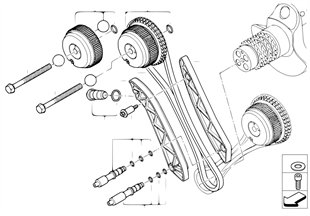 Timing gear, timing chain, cyl. 1-4
