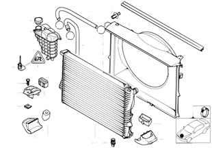 Wasserkühler/Ausgleichbehälter/Zarge