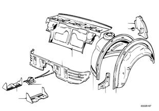 Partition trunk/wheel housing