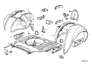 Floor panel trunk/wheel housing rear