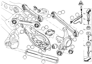 Cadre auxiliere arriere/suspension roues