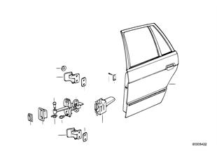 Porte arrière — charnière/arrêt de porte
