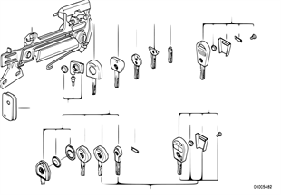Poignée porte AV/serrure/clé