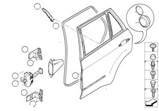 Tür hinten — Scharnier/Türbremse