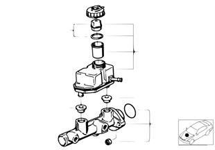 Hoofdremcilinder/druk reservoir