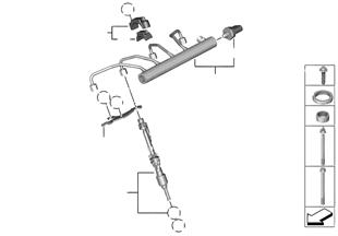 Rail de alta pressão/injector/fixação