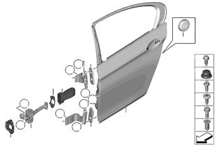Porta traseira — dobradiça/limitador