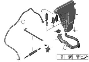 Reserv., windshield/headlight washer syst