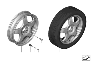 Set emergency wheel with tyre
