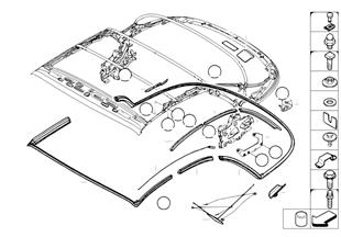 Skládací střecha montážní díly