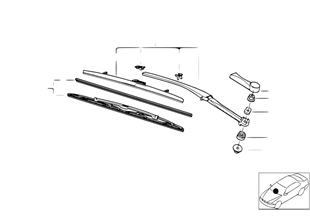 Left wiper arm/wiper blade