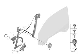 Okenní mechanismus dveří přední