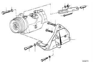 Kompresor klimat.-mont.díly/řemen. pohon