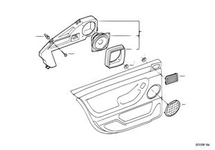 Onderdelen deur achter stereo-systeem