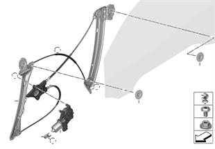 Mécanisme de fenêtre de porte avant