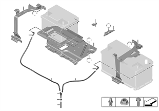 Sujeción de batería y piezas de montaje