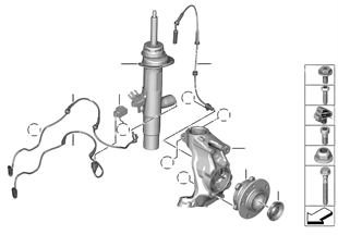 Amortisör kovanı, ön VDC / montaj prç.