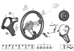 M спортивное рулевое колесо с НПБ, кожа