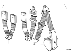 Safety belt rear, single parts