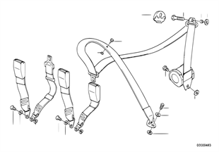 Bezpečnostní pás montážní díly zadní