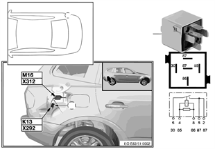 Relay for heated rear window K13