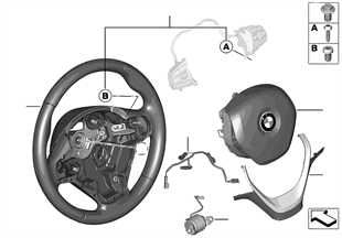 Спортивное рулевое колесо с НПБ кожа