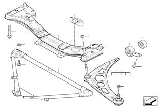 Cadre aux. avant / bras de suspension