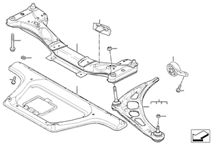 Front axle support/wishbone