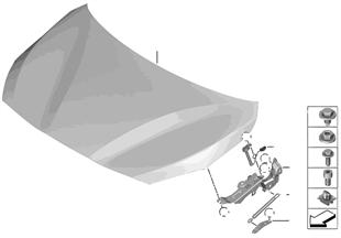 Přední kapota/montážní díly