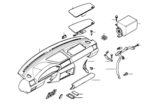 Bekled.instrument paneel/meerijd.airbag