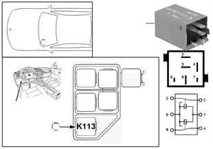 Relé vidro deflector K113