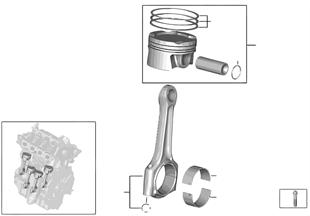 Crankshaft asbly — Connecting rod/piston