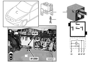 Relay, rear window power, K90