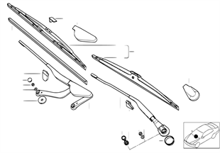 Single components for wiper arm