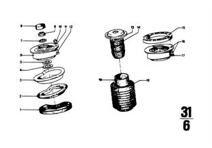 Opěrné ložisko/pružná podložka/mont.díly