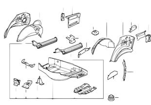 Plancher de coffre ar/passage de roue ar