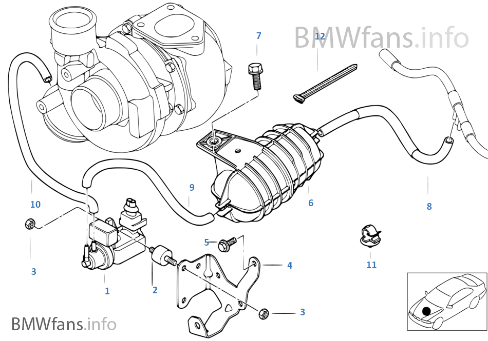 Vacum control-engine-turbo charger | BMW 3' E46 330d M57 Europe